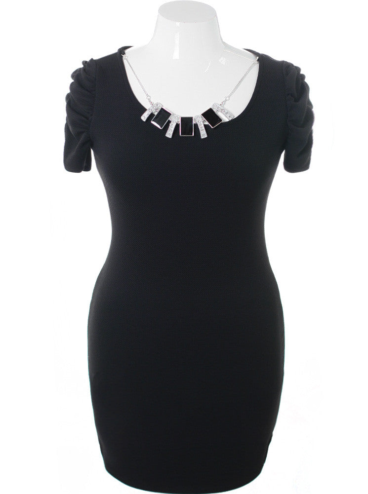 Plus Size Jewelry Necklace Cocktail Black Dress