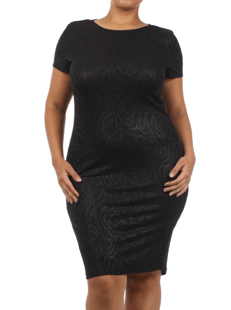 Plus Size Romantic Bliss Rose Print Black Midi Dress