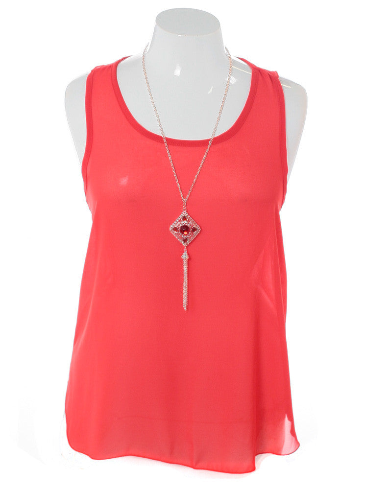 Plus Size Ruby Necklace Sheer Coral Top