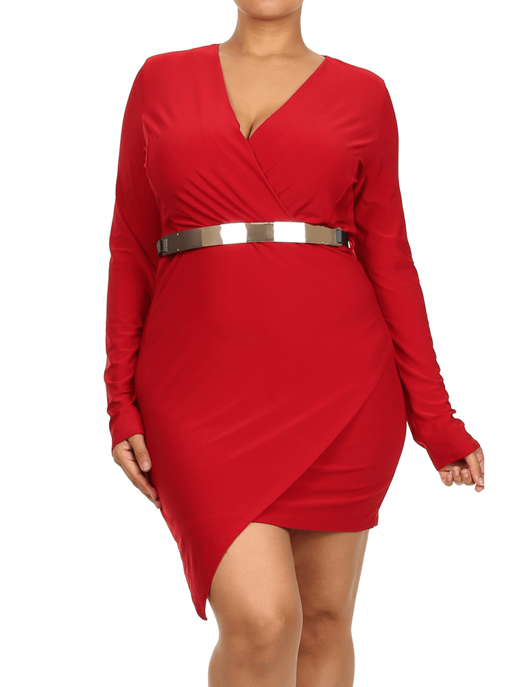 Plus Size Gorgeous Belted Jagged Hem Red Dress