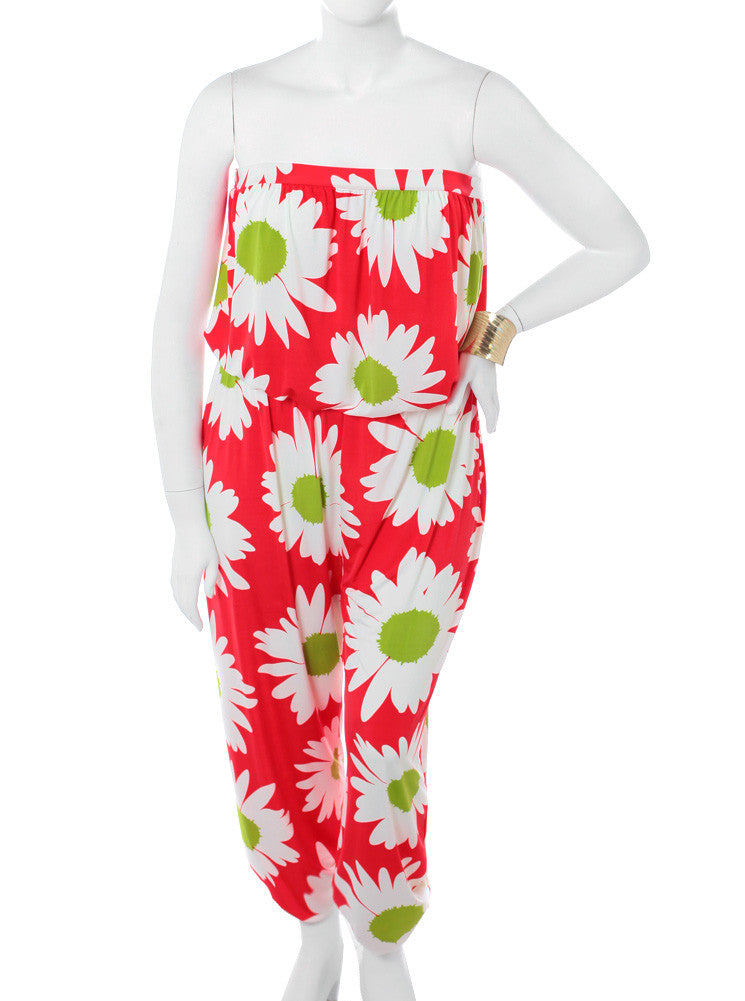 Plus Size Forever Floral Red Jumpsuit