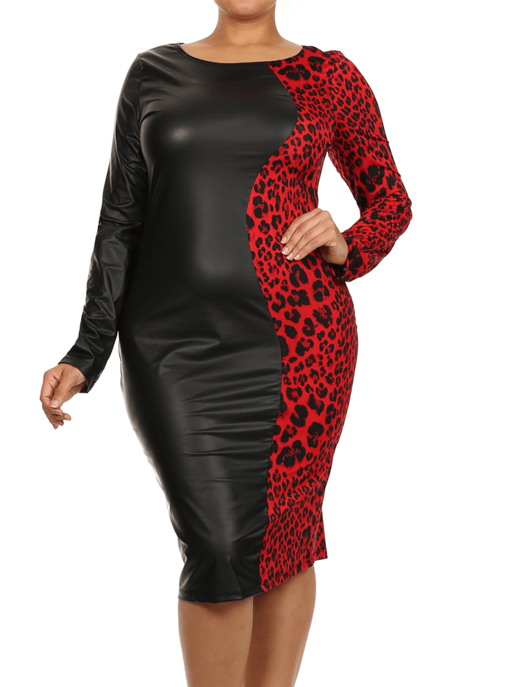 Plus Size Split Leather Cheetah Print Red Midi Dress