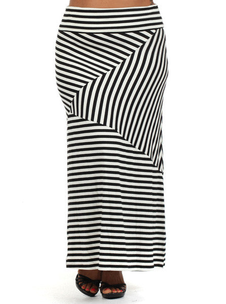 Plus Size Chic A-Line Striped Maxi Skirt