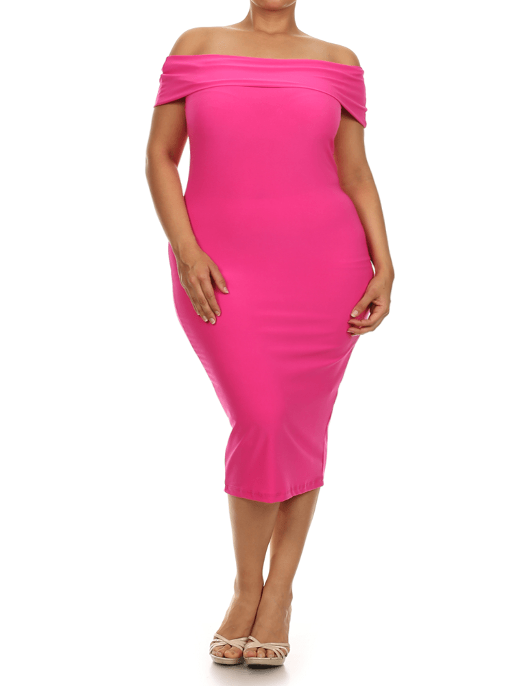 Plus Size Sweet Talker Off The Shoulders Pink Midi Dress