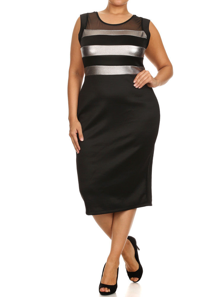 Plus Size Metallic Silver Striped Mesh Midi Dress