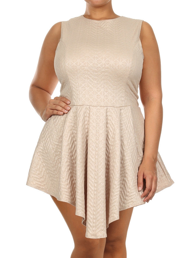 Plus Size Sleeveless Diamond Pattern Skater Tan Dress