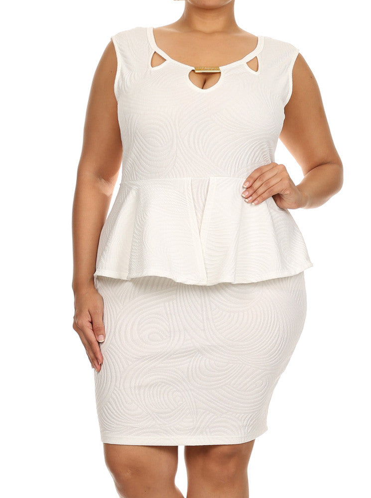Plus Size Glamorous Wave Pattern Peplum White Dress