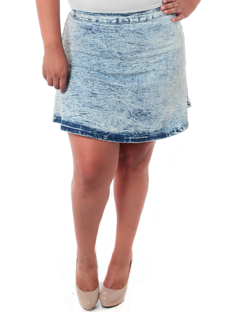 Plus Size Acid Wash Skater Skirt