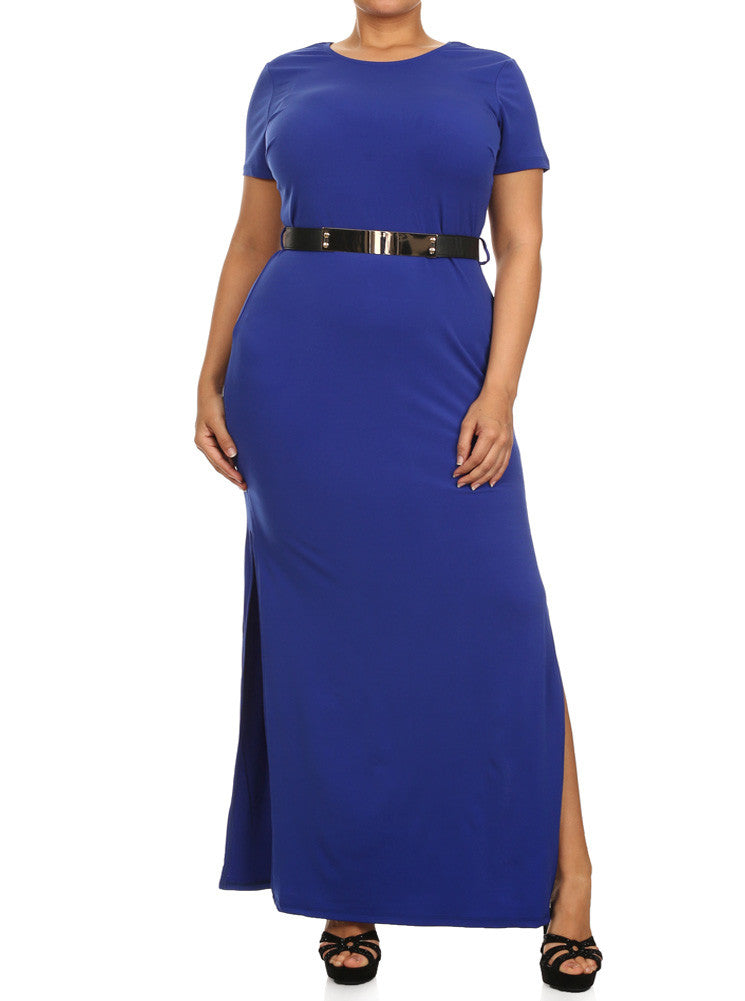 Plus Size Open Slit Cocktail Long Blue Dress