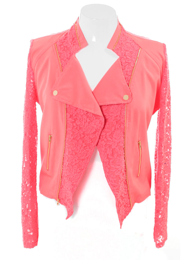 Plus Size Lace Sleeves Coral Biker Jacket