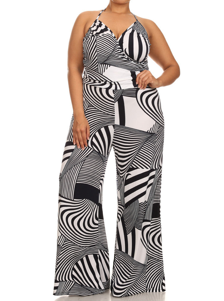 Plus Size Geometric Crossed Halter Neckline Jumpsuit