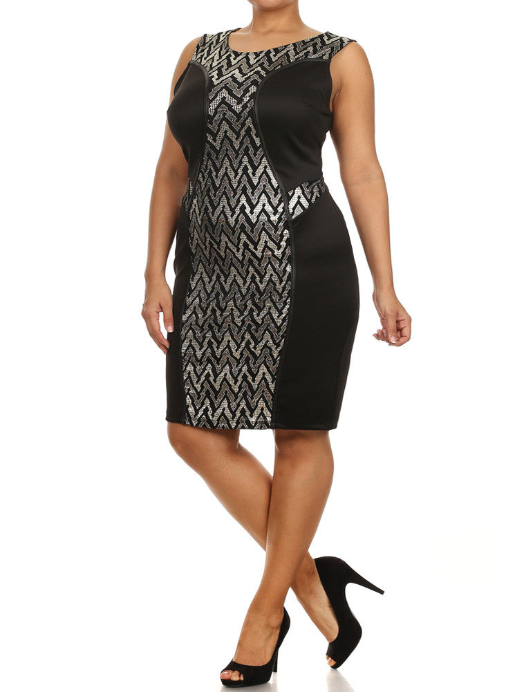 Plus Size Lights In the Sky Silver Dress