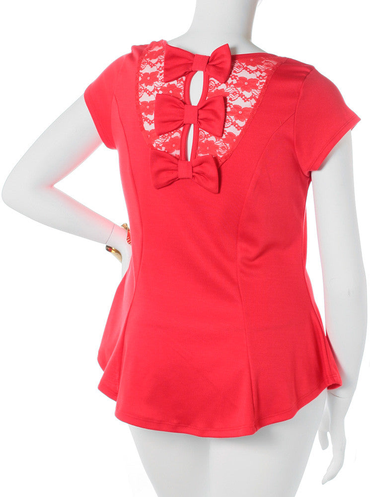 Plus Size Bow See Through Back Coral Top