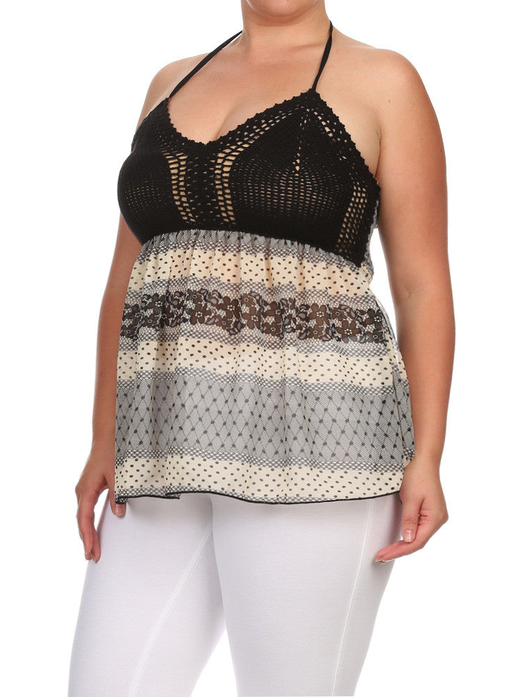 Plus Size Crochet Floral Dotted Babydoll Top