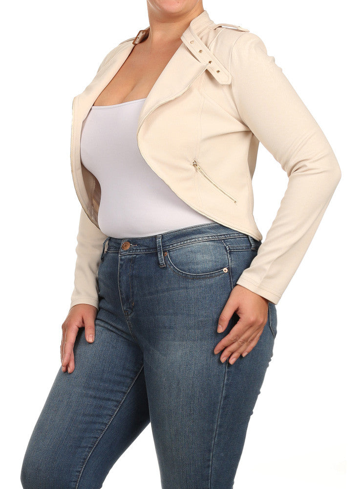Plus Size City Girl Knit Textured Moto Tan Jacket