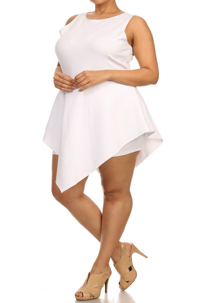 Plus Size Glamorous V Hem Open Back Skater White Dress
