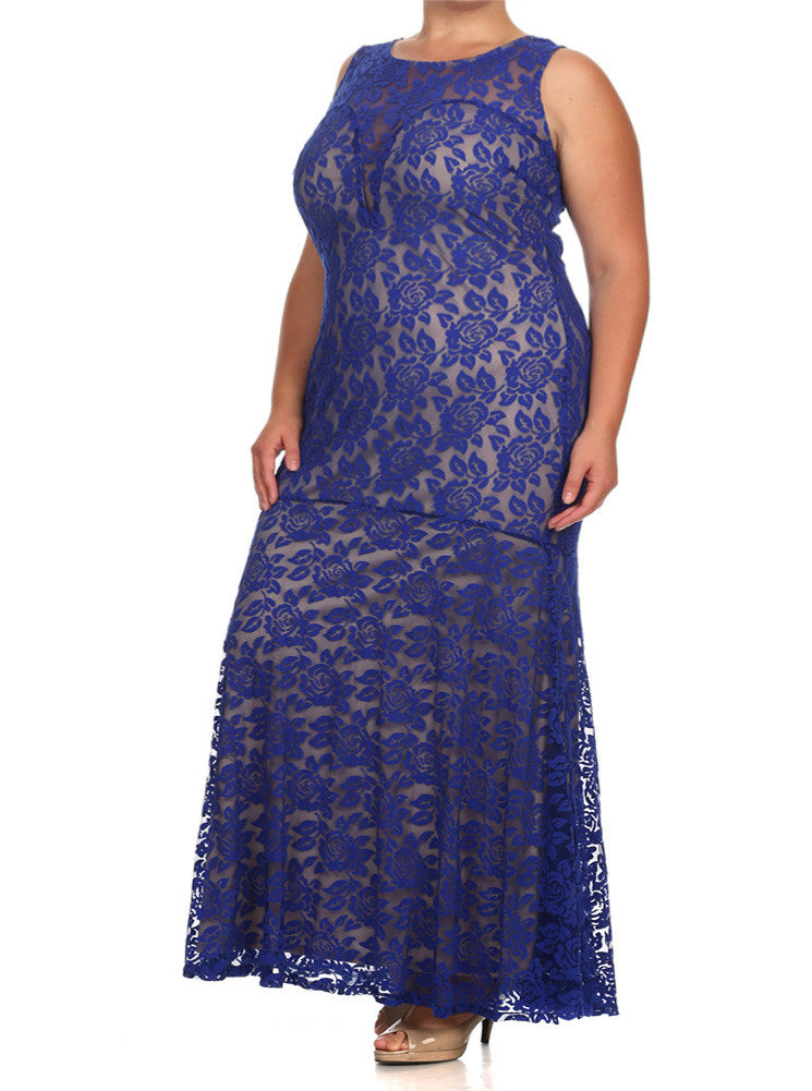 Plus Size Kissed By A Rose Fish Tail Blue Maxi Dress