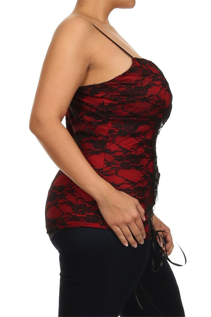 Plus Size Enticing Floral Lace Red Corset