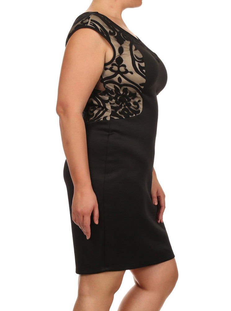 Plus Size Sweetheart Victorian Mesh Black Dress