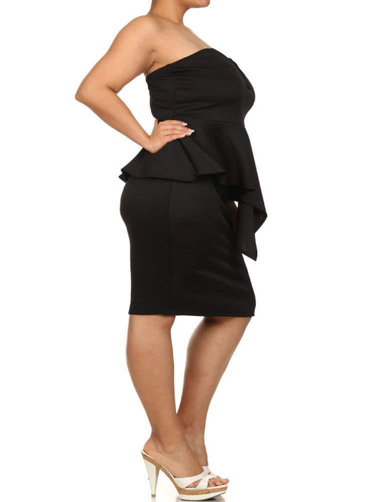 Plus Size Stolen Dance Peplum Black Dress