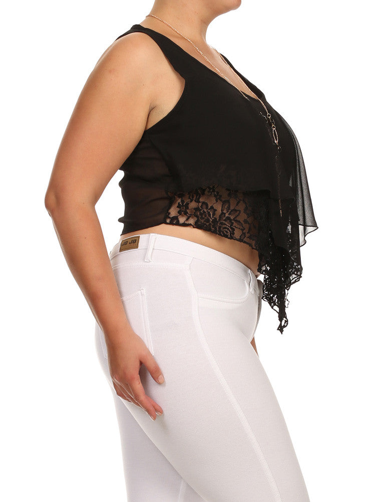 Plus Size Flirty V Hem Floral Lace Crop Sheer Top
