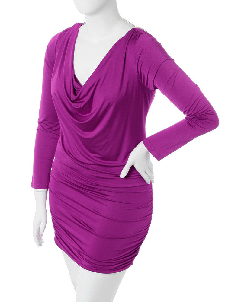 Plus Size Pearl Necklace Cowl Neck Purple Dress