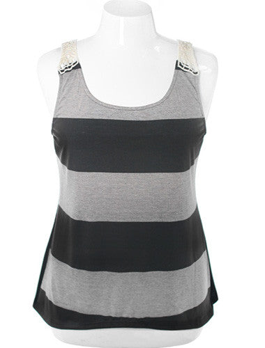 Plus Size Adorable Lace Back Stripe Tank