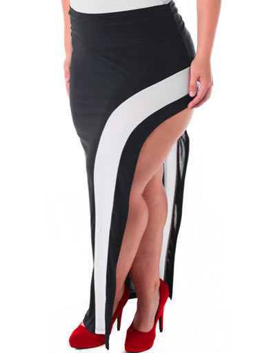 Plus Size Hot Open Leg White Stripe Skirt