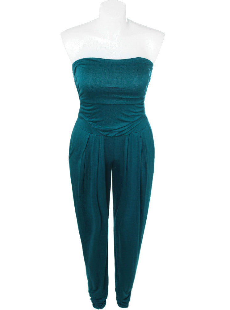 Plus Size Sexy Strapless Aqua Jumpsuit