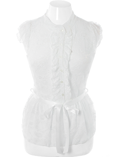 Plus Size See Through Ruffle Lace White Blouse
