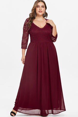 Plus Size Elegant Diva Plunging Neck Lace Panel Maxi Dress