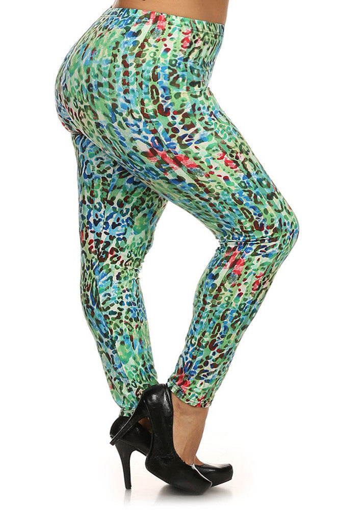 Plus Size Cheetah Print Lined Leggings with Elastic Waist.