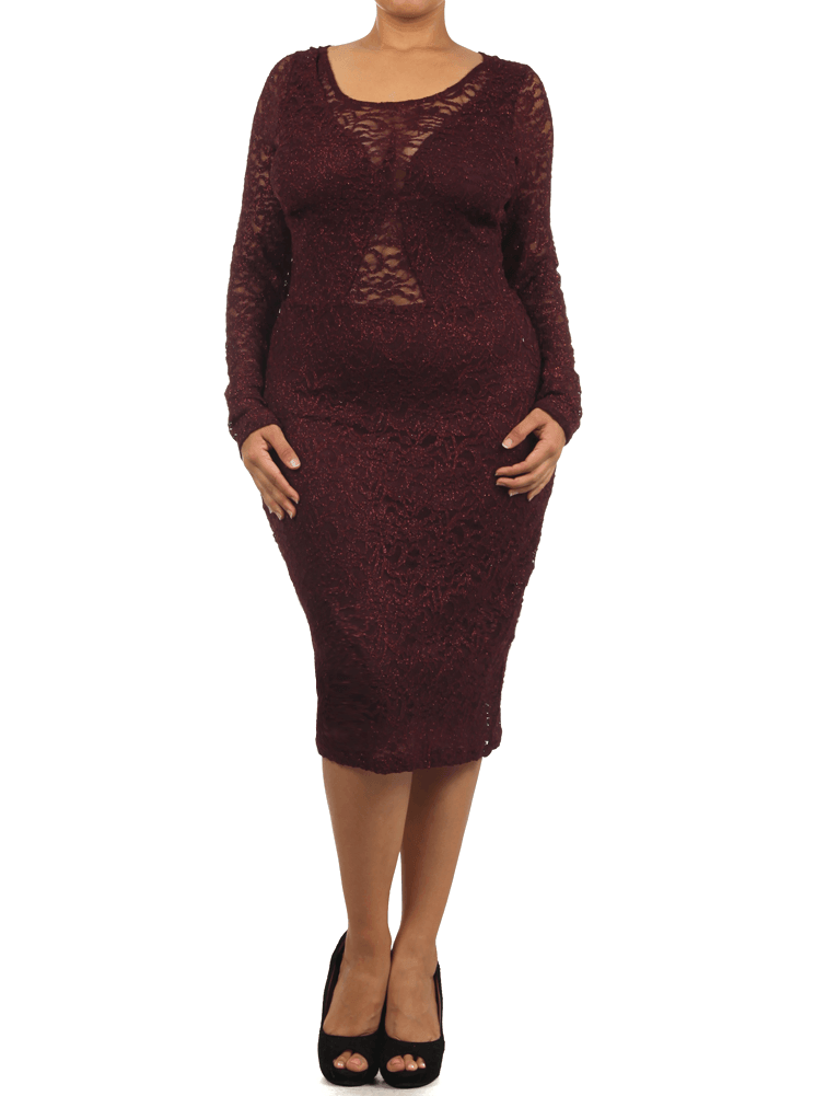 Plus Size Dazzling Floral Lace Burgundy Midi Dress