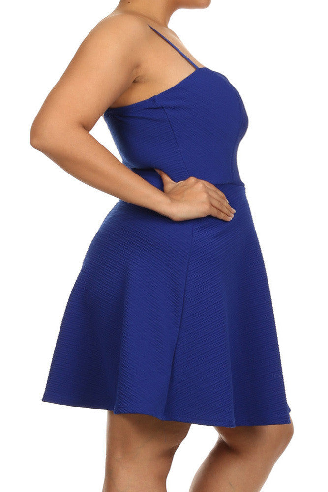 Plus Size Wonderland Skater Blue Ribbed Dress