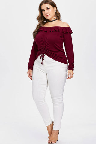 Plus Size Drawstring Ruched Off Shoulder Long Sleeve Top