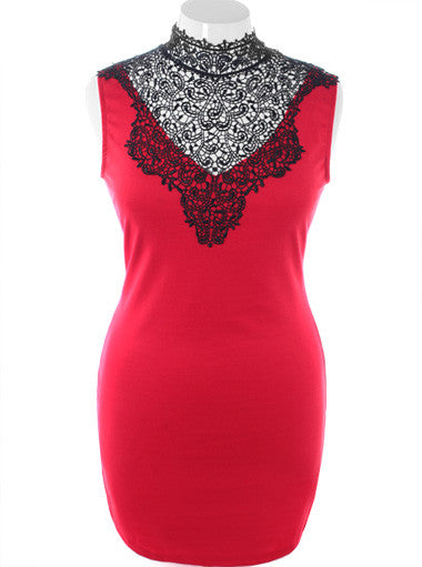 Plus Size Fabulous Bodycon Sleeveless Red Dress