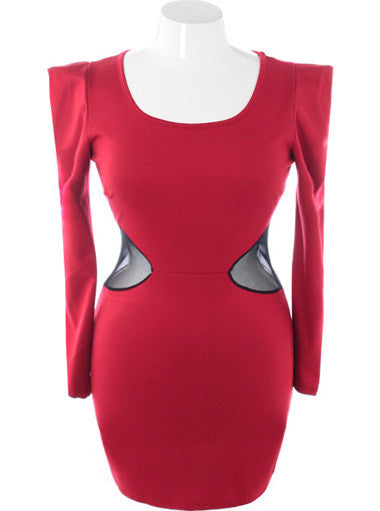 Plus Size Designer Bold Shoulder Runway Red Dress
