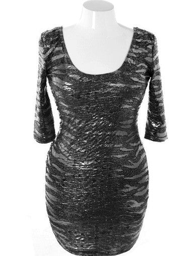 Plus Size Designer Bodycon Shining Black Dress