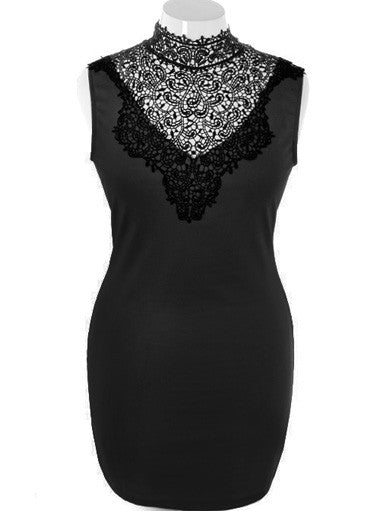 Plus Size Fabulous Bodycon Sleeveless Black Dress