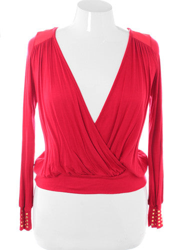 Plus Size Stylish Cropped V Neck Wrap Red Top