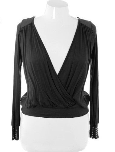 Plus Size Stylish Cropped V Neck Wrap Black Top