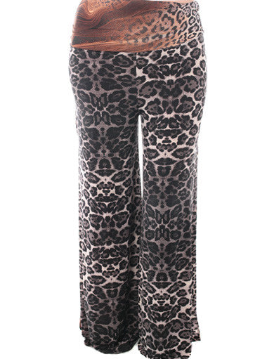 Plus Size Open Wide Leg Leopard Grey Pants