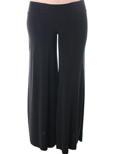 Plus Size Stretchy Wide Leg Black Pants