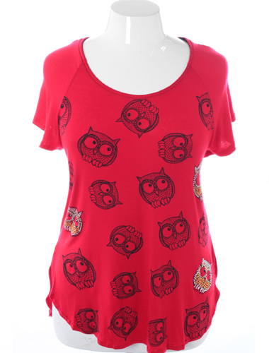 Plus Size Open Backside Owl Red Top