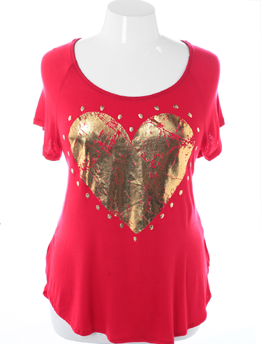 Plus Size Open Backside Studded Skull Red Top