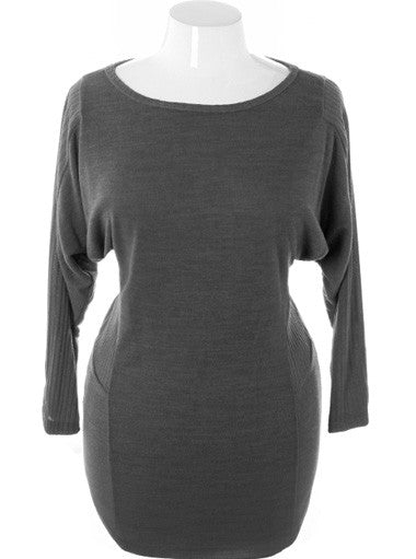 Plus Size Fabulous Ribbed Sleeves Knit Grey Dress