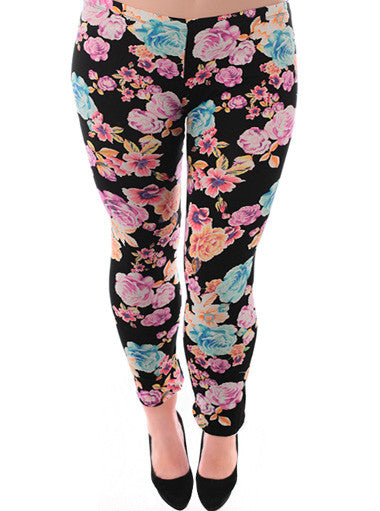 Plus Size Trendy Pink Floral Leggings
