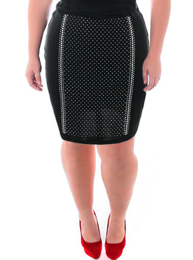 Plus Size Stretchy Studded Diva Black Skirt