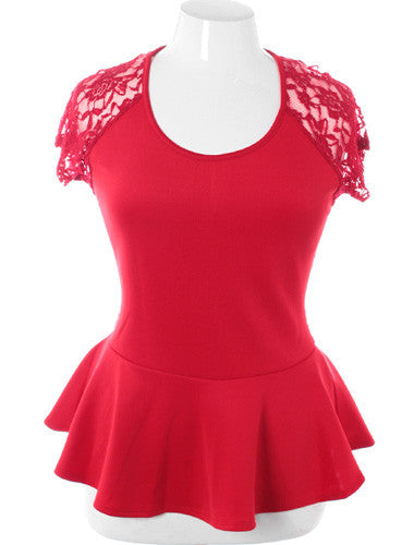 Plus Size See Through Back Peplum Red Top