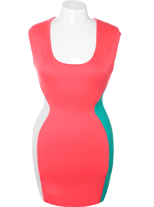 Plus Size Hot Bodycon Sleeveless Coral Dress